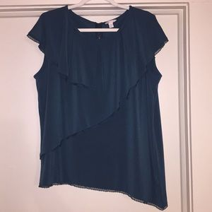 Asymmetrical blouse with exposed zipper.